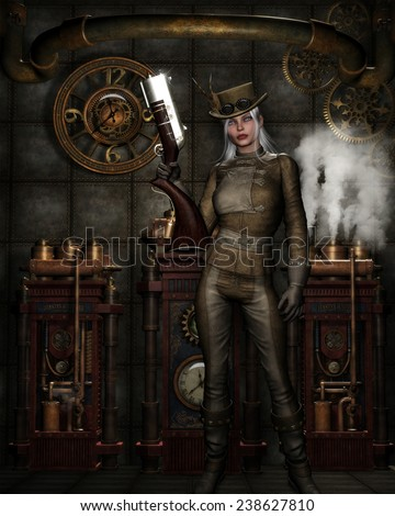 3d illustration of a beautiful Steampunk female wearing a leather suit and holding a huge gun. Background of clocks, machine's and steam.