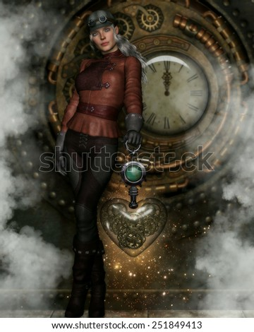3d Illustration of a beautiful Steampunk women dressed in a leather outfit with steampunk cap and goggles.  She is holding a glass heart with gears inside and standing in front of a clockwork wall.