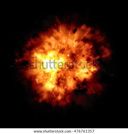 2d illustration of a big fire explosion