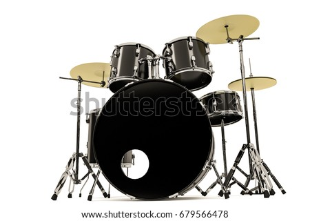 3d illustration of a black drum set isolated on white background