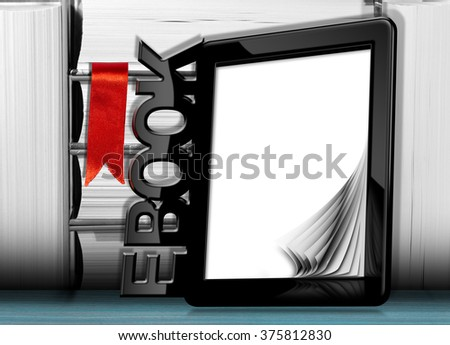 3d illustration of a black modern ebook reader with blank curled pages  - stock photo