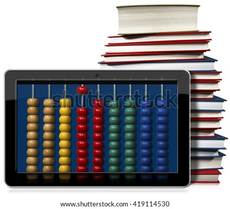 3D illustration of a black tablet computer with a wooden and colorful abacus and a stack of books. Isolated on white background - stock photo