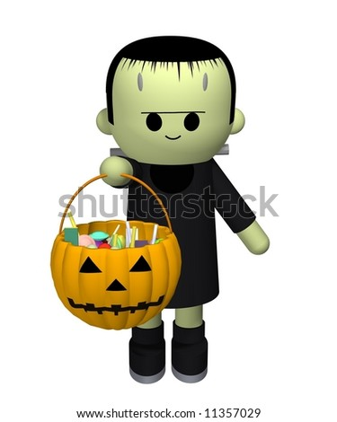 3D illustration of a boy dressed up as Frankensteins monster collecting candy - stock photo