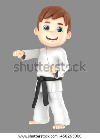 3d illustration of a boy in kimono doing karate