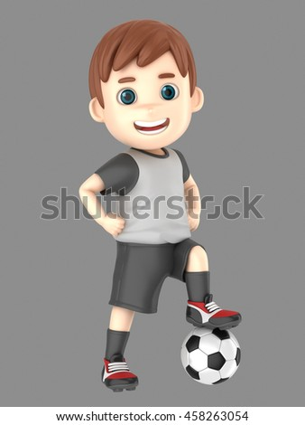 3d illustration of a boy in soccer uniform