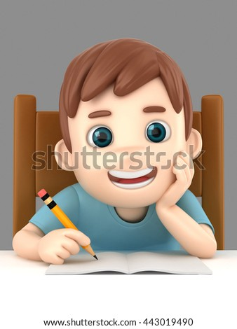 3d illustration of a boy writing