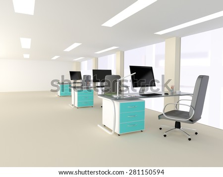 3D illustration of a bright white modern minimalist office interior with three identical workstations with turquoise highlights on the cabinets attached to the desks with desktop computers