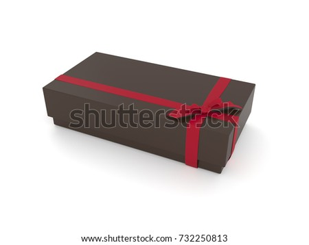 3d illustration of a brow gift box with a red ribbon on a white background.