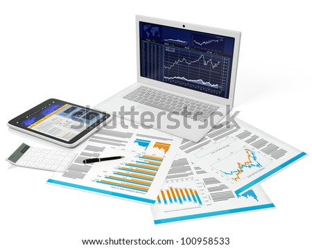 3d illustration of a business computer with a blank on a white background