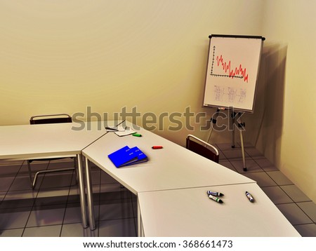 3D illustration of a business meeting room including ring binders, felt tip pens and document lying on some tables, chairs, and a flip chart in background