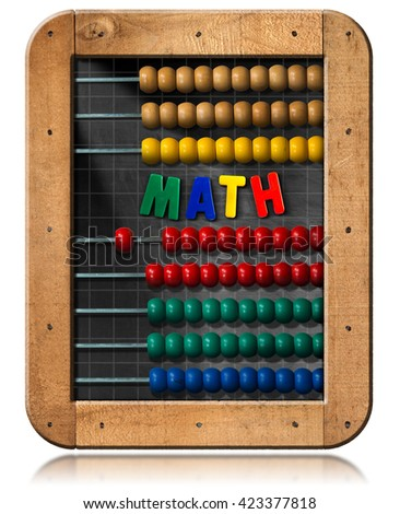 3D illustration of a chalkboard with wooden frame, colorful abacus and text Math (magnetic letters). Isolated on white background - stock photo