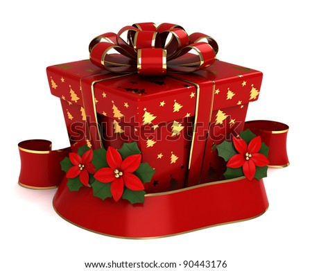3D Illustration of a Christmas Gift - stock photo