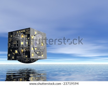 3d illustration of a city of the future in the sea or ocean