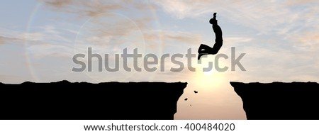 3D illustration  of a concept young 3D man businessman silhouette jump happy from cliff over gap sunset sunrise sky background as metaphor to freedom, nature, mountain, success, free, joy, health risk - stock photo