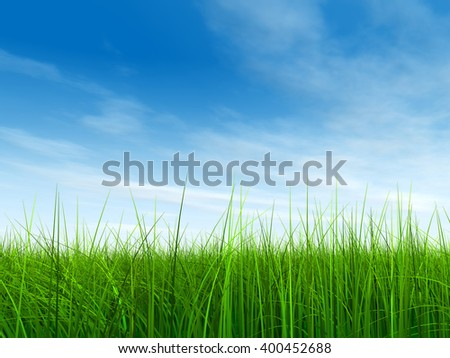 3D illustration of a conceptual green, fresh and natural grass field lawn, blue sky background in spring or summer metaphor to nature, environment, sport, soccer, golf, agriculture, eco, garden design - stock photo