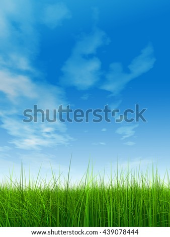 3D illustration of a conceptual green, fresh and natural grass field or lawn, blue sky background spring or summer metaphor to nature, environment, sport, soccer, golf, agriculture, eco, garden design - stock photo