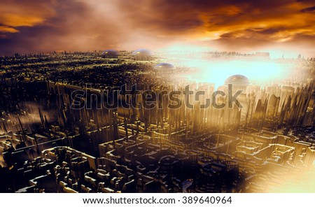 3D Illustration of a conceptual scene of a city somewhere in the universe - stock photo