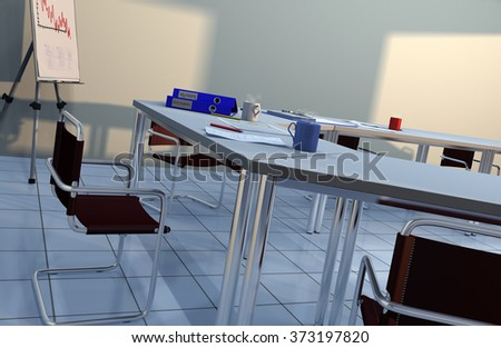 3D illustration of a corporate business meeting room with tables, chairs, a flip chart, coffee mugs, ring binders and office stationery items - stock photo