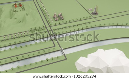3d illustration of a country scene