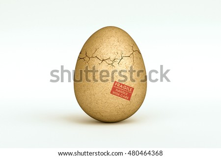 3d illustration of a cracked egg isolated on white background