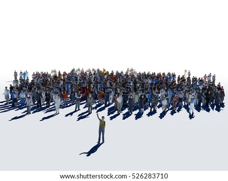 3d illustration of a crowd of people on a white background.