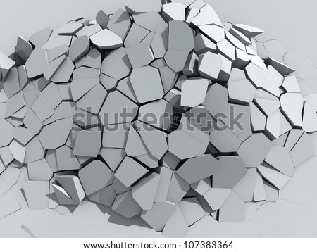 3d illustration of a crumbling concrete wall