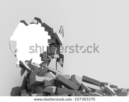 3d illustration of a crumbling concrete wall and a large hole with white copy space behind - stock photo