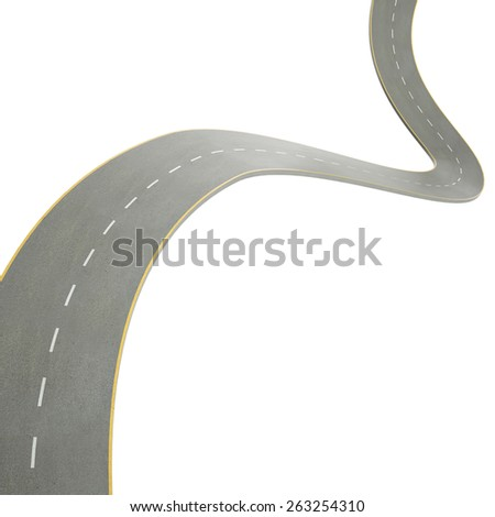 3d illustration of a curving, bending road, isolated on white background. 3d high resolution image