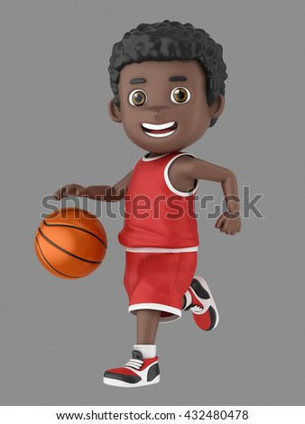 3d illustration of a cute african american kid dribbling a basketball in uniform - stock photo
