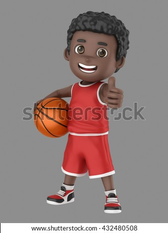 3d illustration of a cute african american kid holding a basketball and showing number thumbs up sign in uniform - stock photo