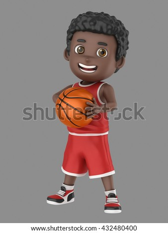 3d illustration of a cute african american kid holding a basketball in uniform - stock photo
