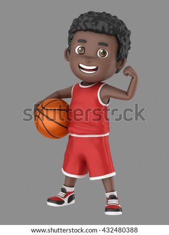 3d illustration of a cute african american kid holding a basketball in uniform flexing his arm - stock photo