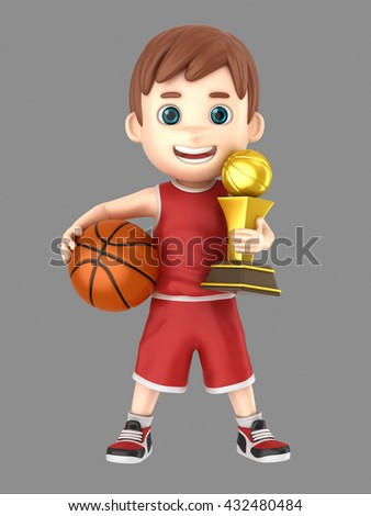 3d illustration of a cute kid holding a basketball and a trophy in uniform - stock photo