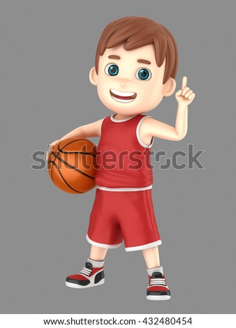 3d illustration of a cute kid holding a basketball and showing number one sign in uniform - stock photo