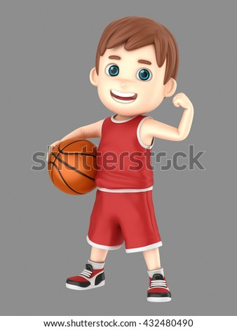 3d illustration of a cute kid holding a basketball in uniform flexing his arm - stock photo