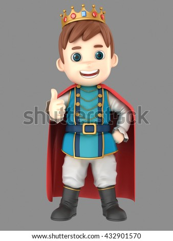 3d illustration of a cute prince showing thumbs up sign