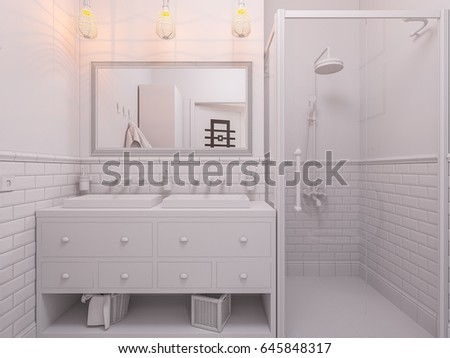 3d illustration of a design bathroom interior in classic Scandinavian style. Visualization of a bathroom without textures and materials in gray tones