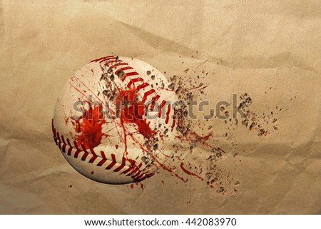 3d illustration of a dirty baseball ball
