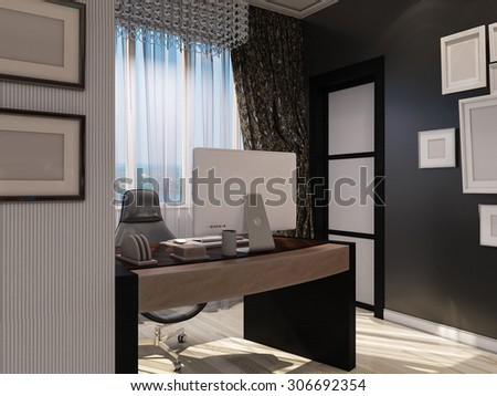 3D illustration of a drawing room in style of an art deco.  - stock photo
