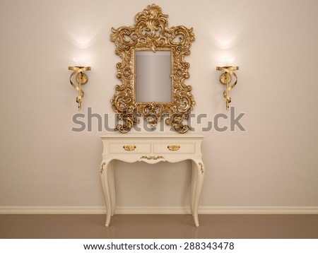 3D illustration of a dressing table with a mirror in a gold fram - stock photo