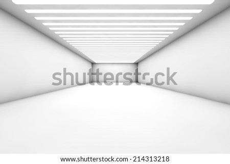 3D illustration of a empty and reflective warehouse with illumination. - stock photo