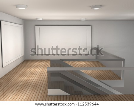 3d illustration of a empty gallery with 2 frames