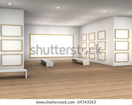 3d illustration empty museum room frames stock illustration 3d illustration of a empty museum room with frames sciox Images