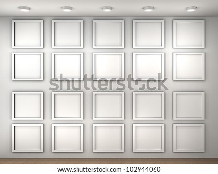 3d illustration of a empty museum wall with frames