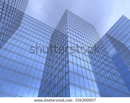 3d illustration of a facade of office to sue reflecting a blue sky
