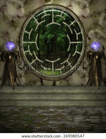 3d illustration of a fairy or elven  background.  Featuring a giant window to the woods and two purple orbs on stands.  Ready for your photo-manipulations or 3D renders.