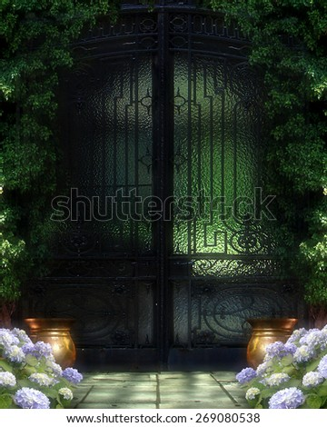 3d illustration of a fairy or elven  background.  Featuring a green glass and iron entry,   green foliage, purple flowers and copper pots.  Ready for your photo-manipulations or 3D renders.