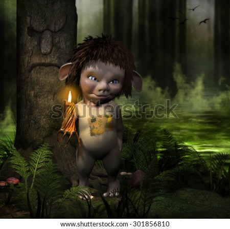 3D illustration of a Fantasy Woodland Creature standing in a swamp holding a melting candle.  A dark eerie forest with bright green water and mist in the background.  - stock photo