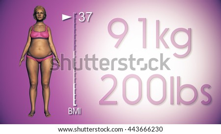 3D Illustration of a Fat Woman Losing Body Weight and BMI Index - stock photo