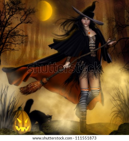Halloween invitation with witch flying on a broom halloween background